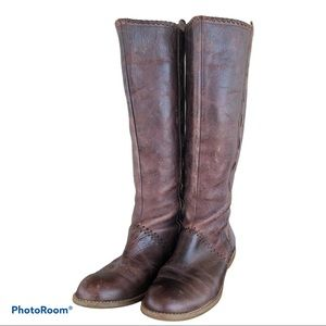 Anthro LUCKY PENNY tall distressed brown boots
